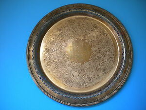 15 Wm Rogers 172 Silverplate Tray Platter Ornate Etching Piercing Imperfections