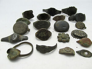 Lot Of 20 Roman Byzantine Medieval Ancient Bronze Rings