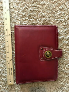 Classic 1 125 7 Rings Red Leather Franklin Covey Open Planner Binder Case Latch