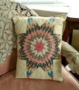 Antique Star Quilt Pillow11x15 Hand Made Pink Blue Brown Primitive Early Fabrics