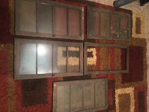 Antique Mission Oak Double Wide 5 Doors Parts For Bookcase Arts Crafts Barrister