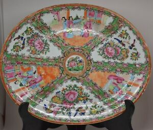 Antique Chinese Rose Medallion Large Tray 10 X 13 Inches