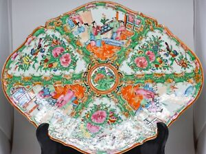Chinese Rose Medallion Large Footed Dish 11 X 13 X 2 5 Inches