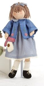Primitive Country Rustic 18 Raggedy Garden Doll With Blue Sweater