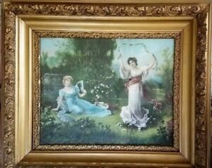 Antique Lithograph Framed Ladies Women Large Victorian Ornate Gold Gesso