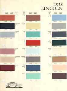 1958 Lincoln Paint Chip Chart Must See