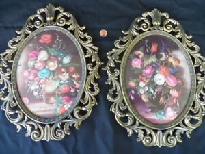 Floral Prints Metal Oval Picture Frames Made In Italy Vtg Convex Bubble Glass X2