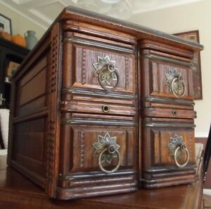 Antique Sewing Cabinet 4 Drawer Carved Oak Wood Frame New Home Beautiful