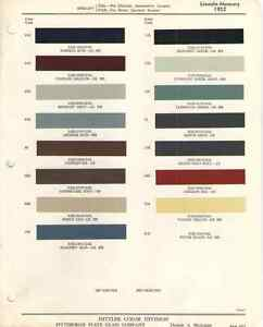 1952 Lincoln Mercury Paint Chip Chart Must See