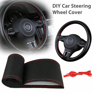 Black Red Leather Diy Car Truck Steering Wheel Cover With Needles And Thread New