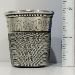 Large 2 High Antique Silver 37 Grams Thimble Only A Thimble Full
