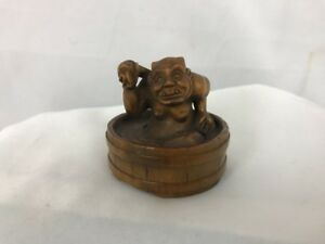 Wood Netsuke Ogre Bathing Signed By Artist