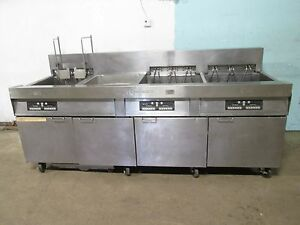 frymaster Hd Commercial 3 Banks Electric Fryers W auto Lift Filtration Unit