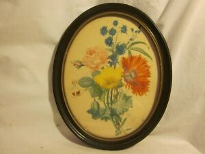 Vintage Oval Wooden Picture Frame W Glass Floral Flower Print Wall Decor Art