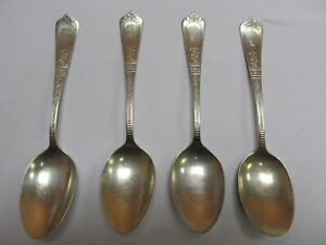 Gorham Unidentified Antique Sterling Silver Group 4 Teaspoons V Good Cond