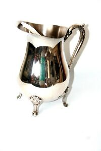 Leonard Silverplated Footed Pitcher With Ice Guard Water Ice Tea Wine Hollowware