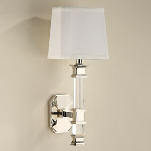 Elegant Solid Crystal Polished Nickel Finish Electric Sconce 19 5 H