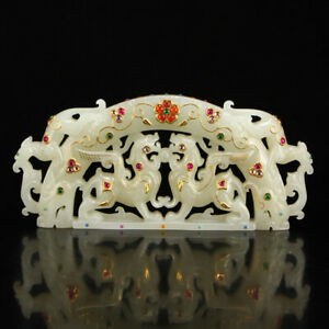 Superb Openwork Chinese Hetian Jade Inlay Gold Wire Gems Lucky Beasts Statue