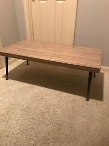 Mid Century Mod Laminate Top Coffee Table 1950s Metal Tapered Legs