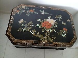Vtg Antique Chinese Black Lacquer Coffee Table Wood Sculptured Legs 4 Drawers