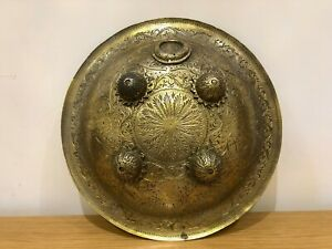 Exquisite Hand Engraved Brass Metal Indian Dhal Shield Decorative
