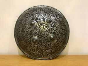 Antique Hand Engraved Metal Indian Dhal Shield Decorative