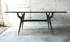 Rare Ico Parisi Dining Sculptural Table Mid Century Mahogany Wood Italy 1950s