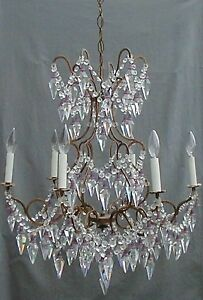 Antique Italian Murano Crystal Beaded French Chandelier Glass Bells Spear