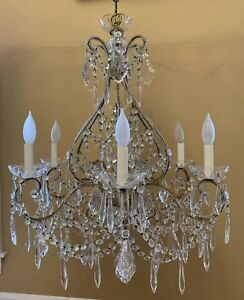 Vintage French Style Italian Crystal Macaroni Beaded Directoire Chandelier