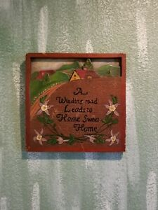 Vintage Folk Art Hand Carved Wood American Sign Plaque Home Sweet Home
