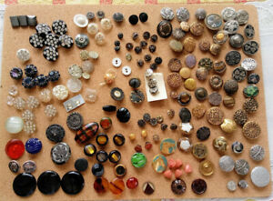 Lot Antique Victorian Metal Buttons Mourning Rhinestones Art Nouveau Cut Steel