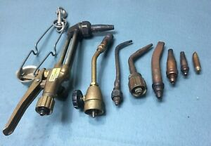 Vintage Victor Journeyman Cutting Welding Torch 3590 Attachment Lot Of Tip 1804
