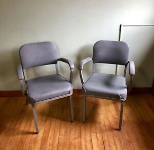 Vintage Pair Of Grey Tanker Office Arm Chairs Steel Vinyl By United Chair Co