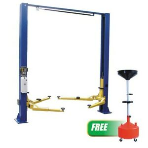 Two Post Clear Floor Lift W free 8 Gallon Plastic Waste Oil Drain Atd 2p9ap New