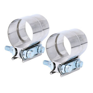 2pcs 5 Stainless Exhaust Band Clamp Step 5 Inch Clamp Lap Style Joint T304 New