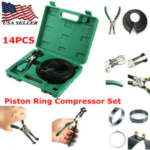 14pcs Piston Ring Compressor Ratcheting Plier 62 145mm Rings Set Tool With Box
