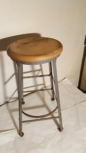Vintage Industrial Wood Metal 28 5 Tall Stool Dietzgen Shop Garage Mid Century