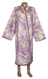Uzbek Beautiful Handmade Natural Cotton Ikat Robe Chapan A11821