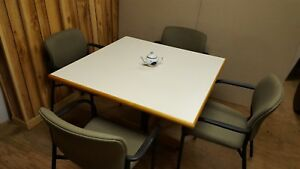 Break Room Work Table 42 Sq And 4 Sitonit Seating Fabric Chairs