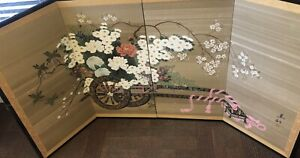 Japanese Byobu Yonkyoku Flower Cart Signed Gold Leaf Folding Screen Vintage