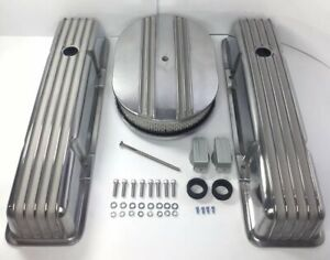 Small Block Chevy Aluminum Finned Tall Valve Covers W Finned 12 Air Cleaner