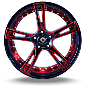 New 20 Inch Marquee M 3247 Glossy Red Face Black Wheels Rims 5x4 5 Set Of 4