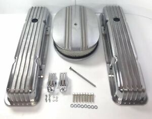 Small Block Chevy Finned Aluminum Short Valve Covers W Half Finned Air Cleaner