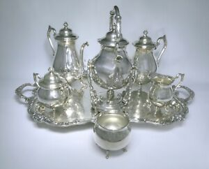 Vintage Sheridan Silver Plated Tea Coffee Service Set 7 Piece 26lb Excellent