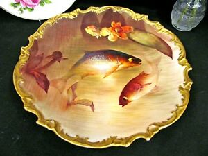Limoges France Painted Fish Rocco Edges Plate Charger 13 Wide Platter