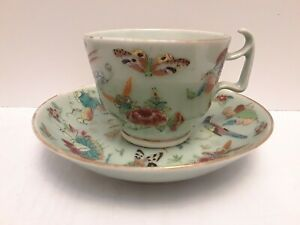 Antique Chinese Celadon Famille Rose Porcelain Cup Saucer 19th Century