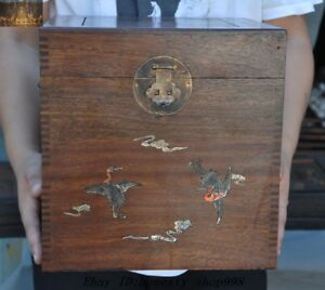 Old Chinese Dynasty Huanghuali Wood Inlay Shell Crane Storage Box Treasure Chest