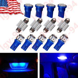 13x Blue Led T10 31mm Festoon Bulbs Packge Kit For Interior Map Dome Lights