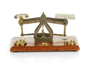 Vintage Balance Beam Scale Brass Set Postal England With Weights