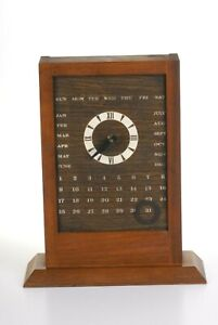 Rare Vintage Mid Century Modern Wood Desk Table Shelf Clock Retro